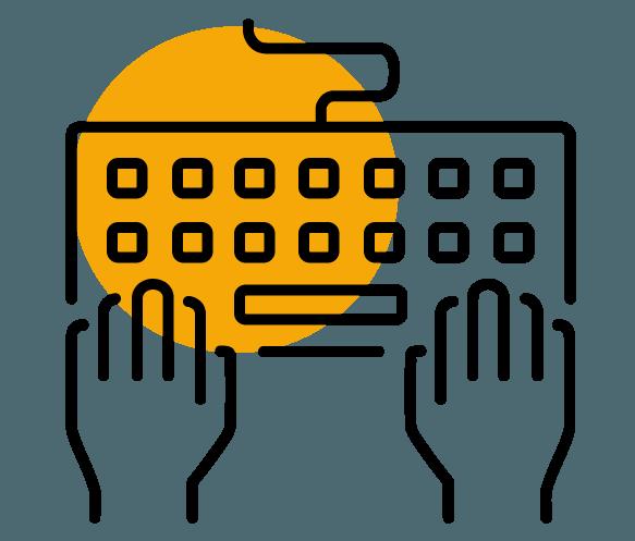Piktogramm Hände auf Tastatur